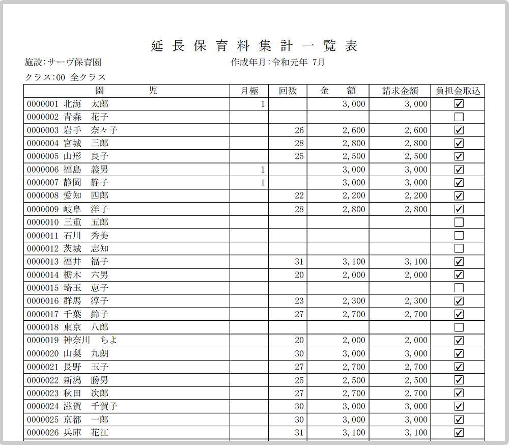 延長保育料集計一覧表